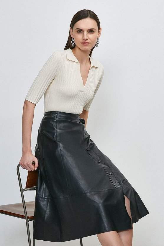 Black Leather Popper Wrap Midi Skirt