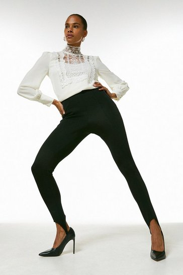 Black Italian Structured Jersey Stirrup Legging