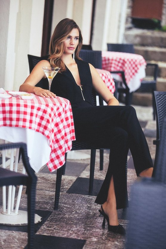 Black Italian Structured Jersey Split Hem Legging
