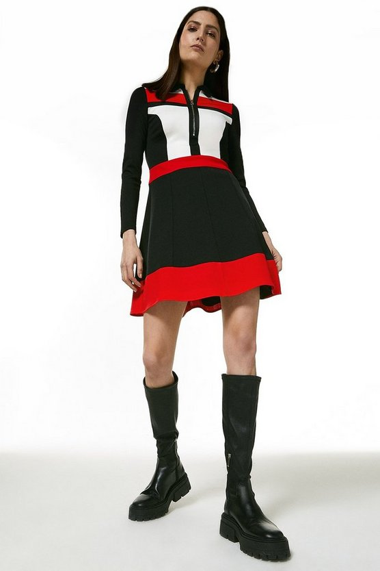 Multi Italian Structured Jersey Collar Dress