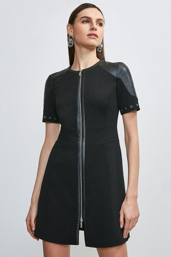 Black Italian Structured Jersey Zip Front Dress