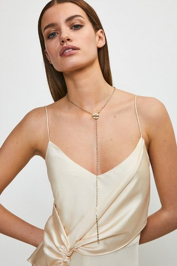 Gold Plated Diamante Drop Necklace