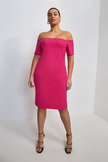 Bright pink Curve Chain Detail Jersey Bardot Dress