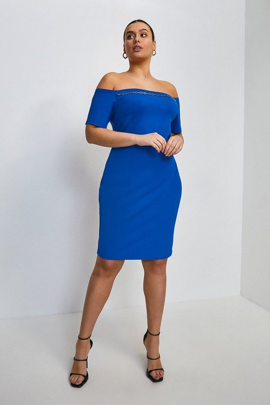 Cobalt Curve Chain Detail Jersey Bardot Dress
