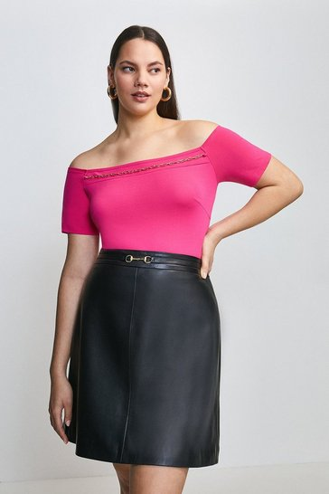 Bright pink Curve Chain Detail Jersey Bardot Top