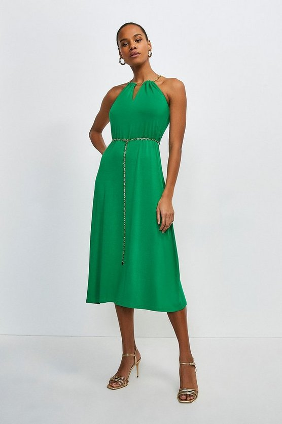 Bright green Chain Neck And Belted Halter Jersey Dress