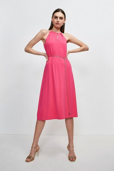 Bright pink Chain Neck And Belted Halter Jersey Dress