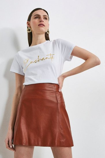 White Enchante Gold Foil Slogan Jersey T-shirt