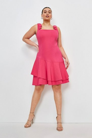 Bright pink Curve Ruffle Hem Tie Shoulder Ponte Dress
