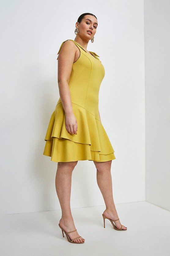 Ochre Curve Ruffle Hem Tie Shoulder Ponte Dress