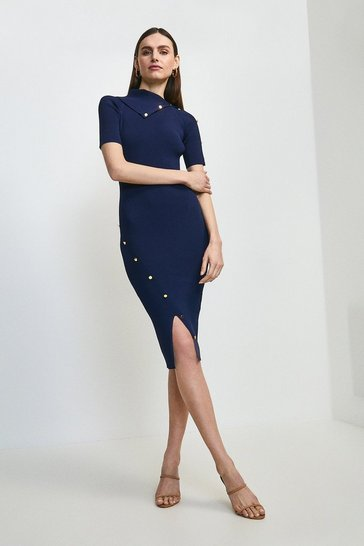 Navy Envelope Neck Short Sleeve Dress