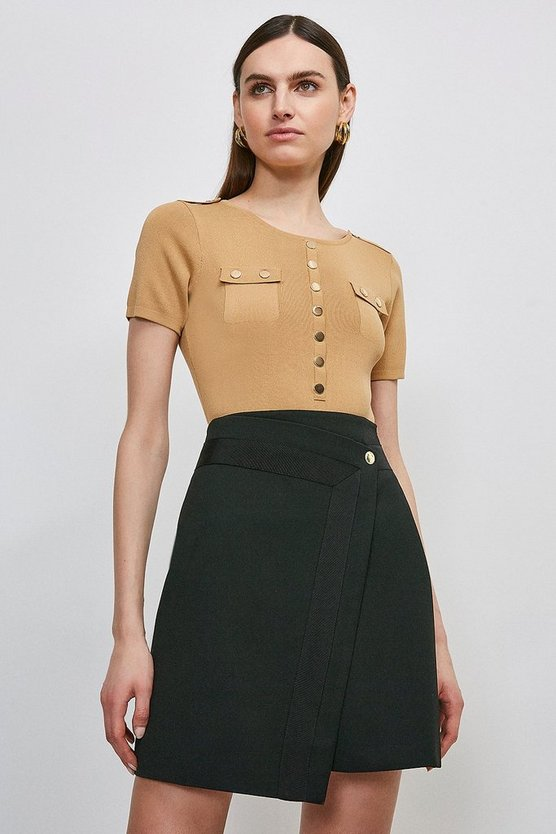 Black Structured Crepe Panelled A Line Skirt