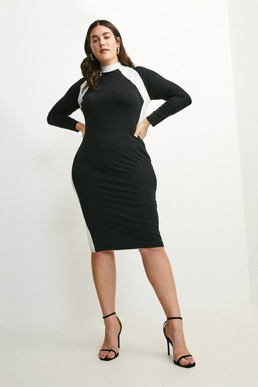 Black Curve Jersey Colour Block Funnel Neck Dress