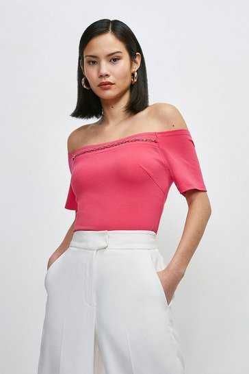 Bright pink Chain Detail Jersey Bardot Top