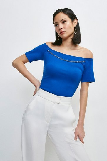 Cobalt Chain Detail Jersey Bardot Top