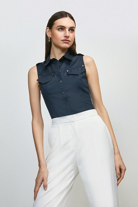 Navy Cotton Sateen Utility Sleeveless Shirt