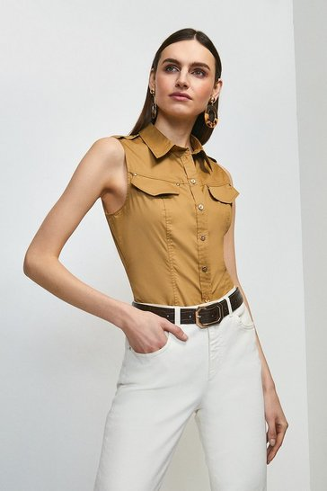 Stone Cotton Sateen Utility Sleeveless Shirt