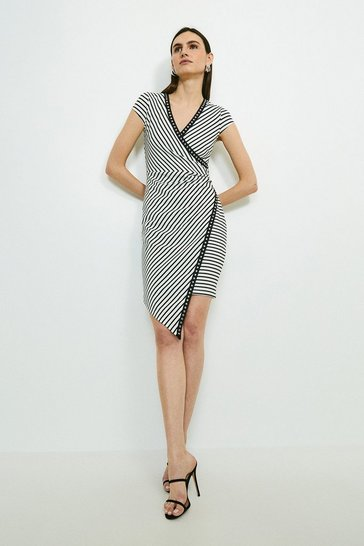 Mono Studded Stripe Ponte Wrap Dress
