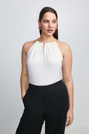Ivory Curve Chain Neck Halter Viscose Jersey Top