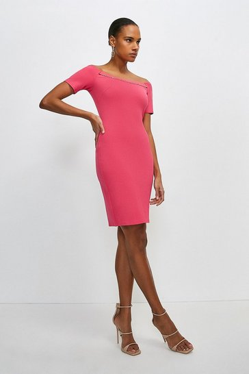 Bright pink Chain Detail Jersey Bardot Dress
