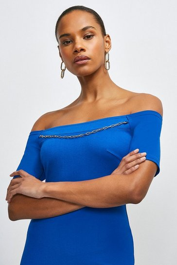 Cobalt Chain Detail Jersey Bardot Dress