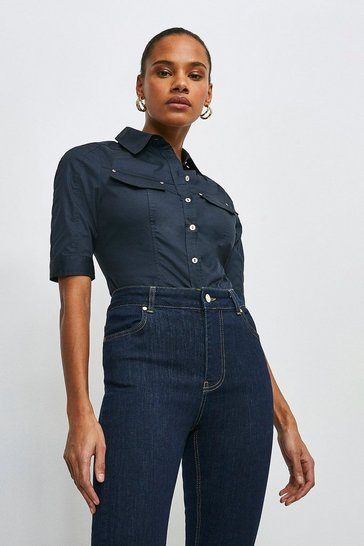 Navy Cotton Sateen Utility Shirt
