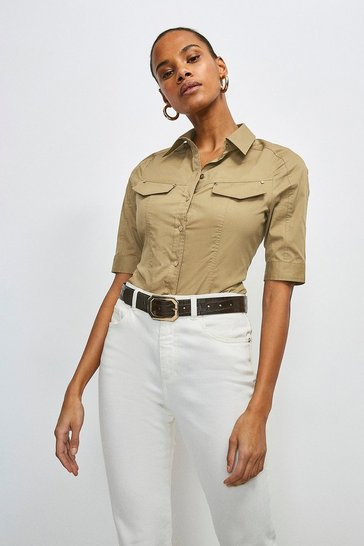 Stone Cotton Sateen Utility Shirt