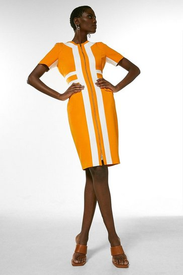 Orange Structured Crepe Panelled Zip Front Dress