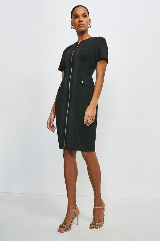 Black Structured Crepe Panelled Zip Front Dress