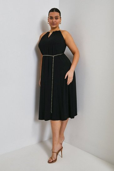 Black Curve Chain Neck Belted Halter Jersey Dress