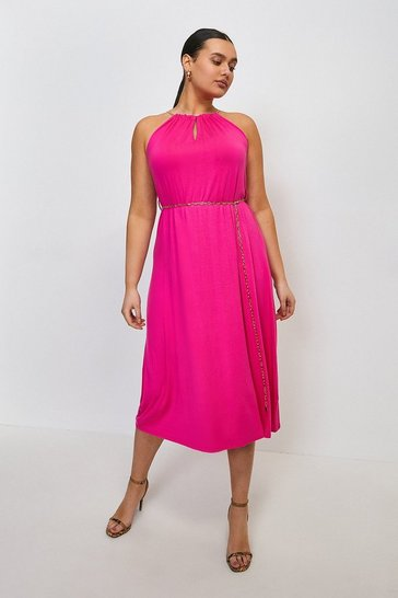 Bright pink Curve Chain Neck Belted Halter Jersey Dress