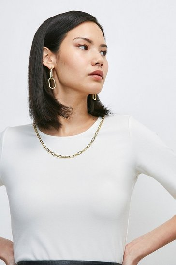 Ivory Chain Detail Scoop Neck Jersey Top