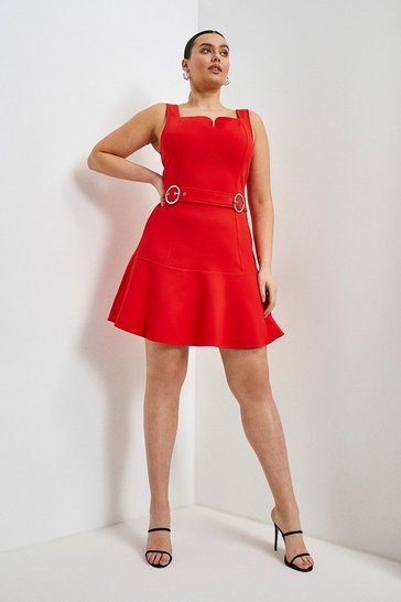 Red Curve Double Buckle Ruffle Hem Ponte Dress