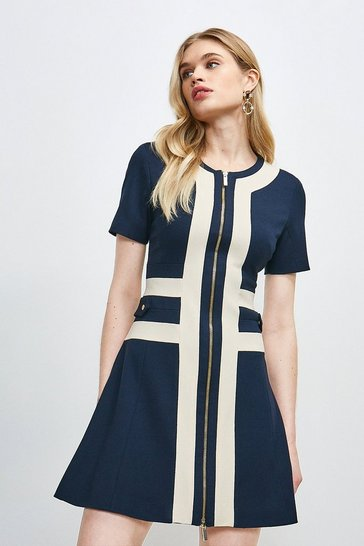 Navy Structured Crepe Panelled A Line Dress