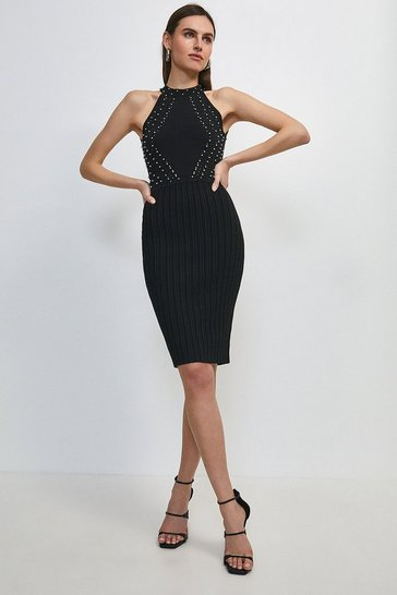 Black Embellished Pointelle Knit Halter Neck Dress