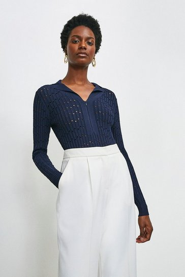 Navy Sporty Pointelle Collared Knitted Top