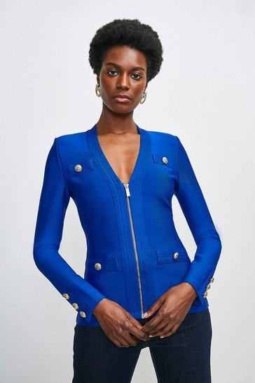 Cobalt Military Bandage Zip Knitted Jacket