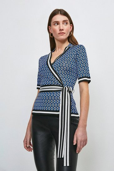 Cobalt Geo Jacquard Wrap Knitted Top