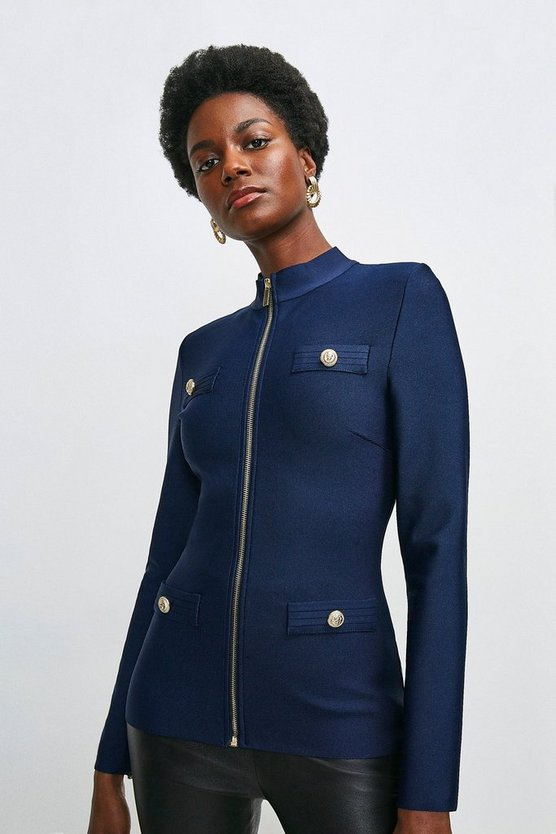 Navy Military Bandage Knitted Jacket
