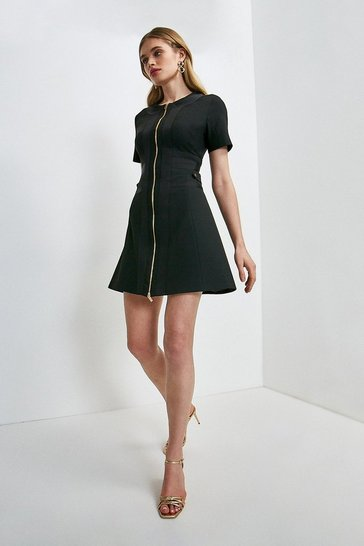 Black Structured Crepe Panelled A Line Dress