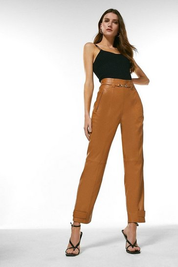 Camel Leather Snaffle Trim Trouser