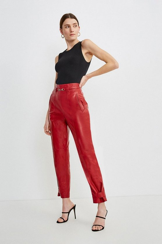 Red Leather Snaffle Trim Trouser