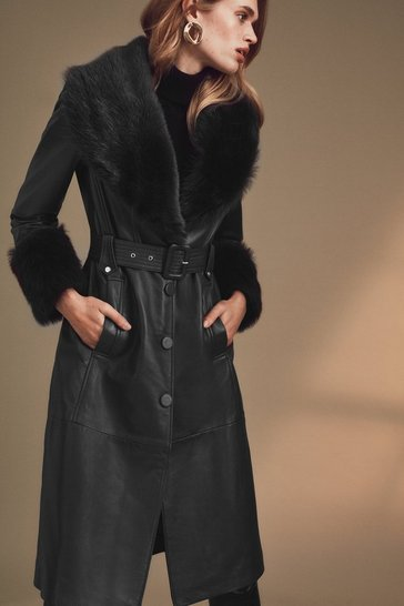 Black Shearling Cuff And Collar Leather Coat