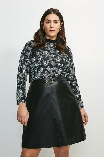 Snake Curve Printed Jersey Colour Block Top