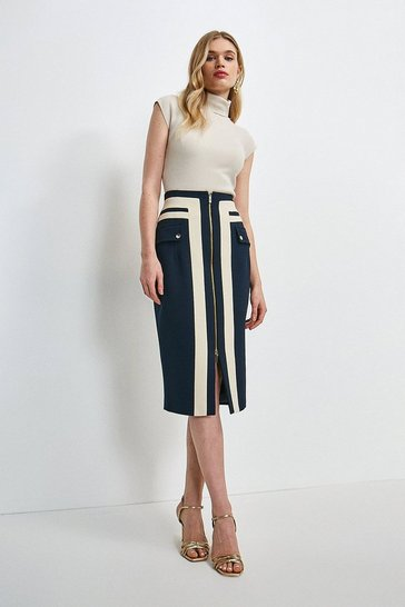 Navy Structured Crepe Panelled Pencil Skirt