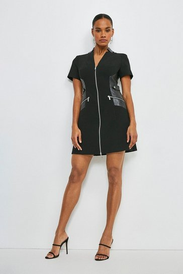 Black Forever Faux Leather A Line Dress