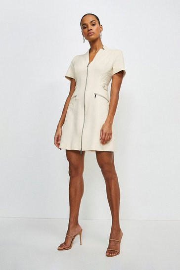 Cream Forever Faux Leather A Line Dress