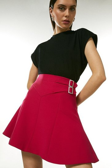 Pink Compact Stretch Buckle Detail A Line Skirt