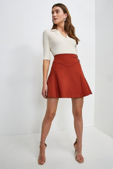 Rust Compact Stretch Buckle Detail A Line Skirt