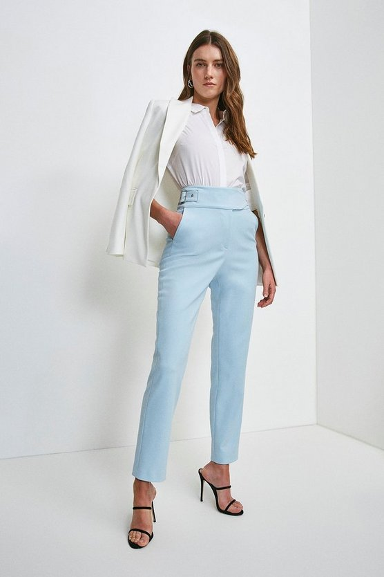 Pale blue Stretch High Waist Slim Leg Buckle Trousers